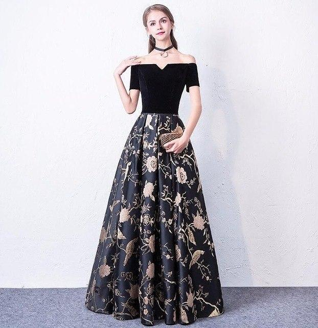 Black Floral Flowers Long Party Dresses Wedding Gowns Short Sleeve ... 4cccd58b46ce