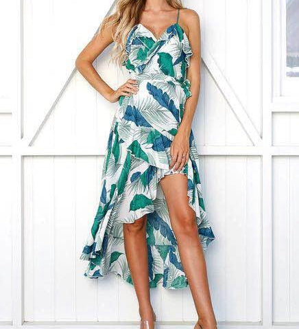Women Summer V Neck Ruffles Floral Print Maxi Dress Spaghetti Strap Bandage Casual Sleeveless Sexy Vestido