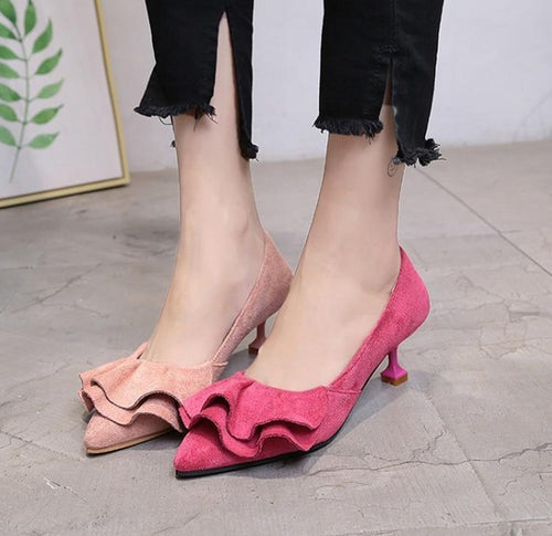 Ruffle Pumps Female Kitten Heel Sweet Slip On Thin High Heels Pointed Toe Shoes Ladies Casual Spring Shoes