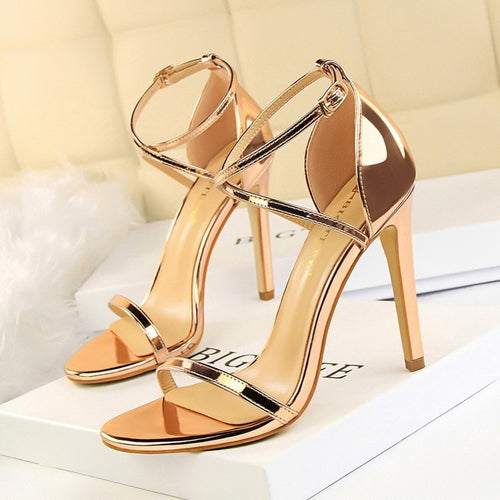 Women Sandals Patent Leather High Heels Shoes Gold Sexy Women Pumps Fashion Wedding Shoes Women stiletto