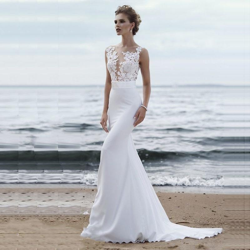 Lorie Beach Wedding Dresses Boho Mermaid Wedding Gown Scoop