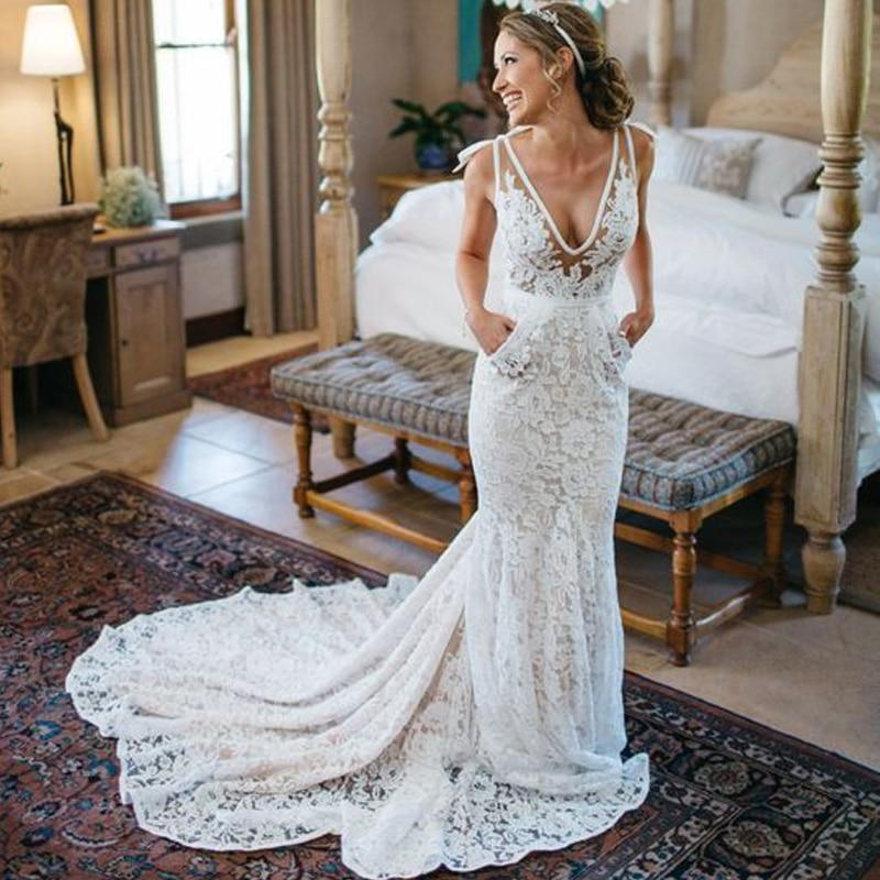 reliable reputation durable modeling best shoes Lorie Ivory Lace Mermaid Wedding Dress 2018 Robe De Soiree Backless Sexy  Bridal Dresses Plunging Spaghetti Straps Wedding Gown