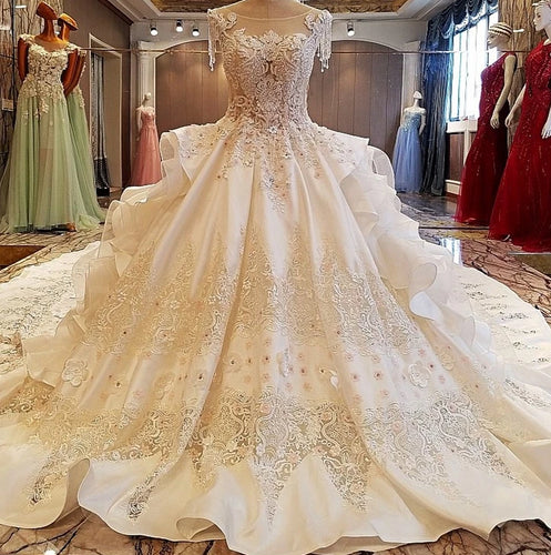 Gorgeous ivory bridal gown 3D flowers beading sleeves ball gown lace wedding dress vestidos de noivas real photos 2019