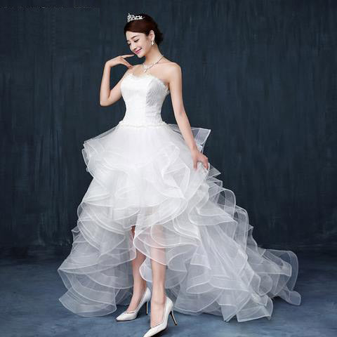Floor-Length Trailing Wedding gown prom Bride marriage cheap party dress