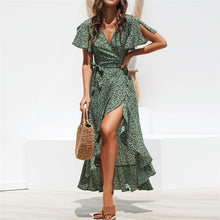 Load image into Gallery viewer, Long Chiffon Dress 2019 Summer Boho Style Floral Print Maxi Beach Dress Sexy Side Split Elegant Party Dress Sundress Vestidos