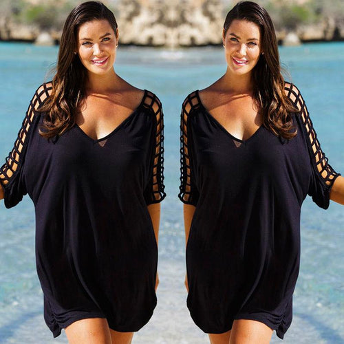 Loose Plus Size Women Summer Black Blouse Tops Beachwear Cover Up Ladies Hollow Out Beach Clothing
