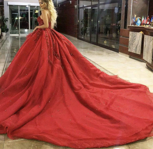 Luxury Ball Gown Prom Dress 2019 Sweetheart Heavy Beading Crystal Sequins Red Long Evening Dresses Royal Train Plus Size