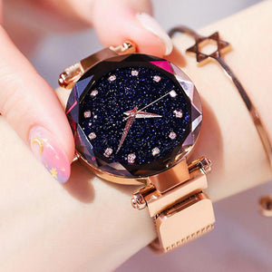 Luxury Rose Gold Women Watch Starry Sky Magnetic Mesh Band Quartz Wristwatch  Diamond Watches 273be62912bb