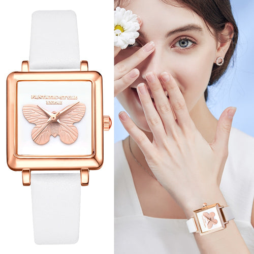 3D Embossed Butterfly Square Women Dress Watches Fashion Leather Creative Quartz Clock Ladies Bracelet Wrist Watch