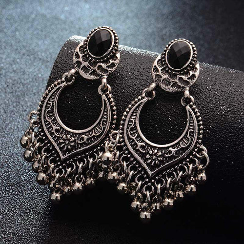 Metal Vintage Tassel Earrings Fashion Jewelry Indian Boho Carved Ancient Silver Drop Earrings For Women Oorbellen