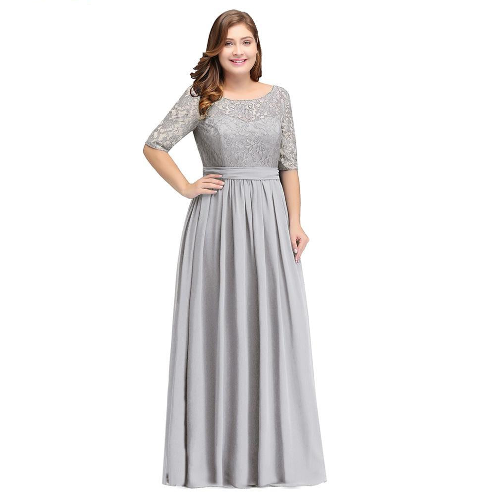Misshow Plus Size Formal Evening Dresses Long Women Elegant Gray Scoop Neck  Chiffon Empire Backless Party Gown Robe De Soiree