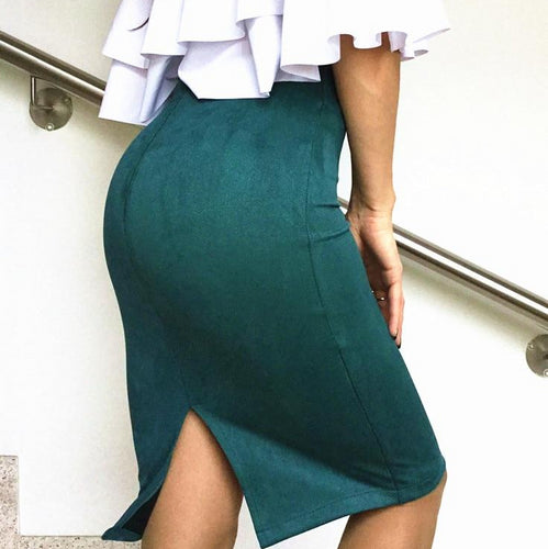 Women Bodycon Skirt Winter Solid Suede Work Wear Package Hip Pencil Midi Skirt