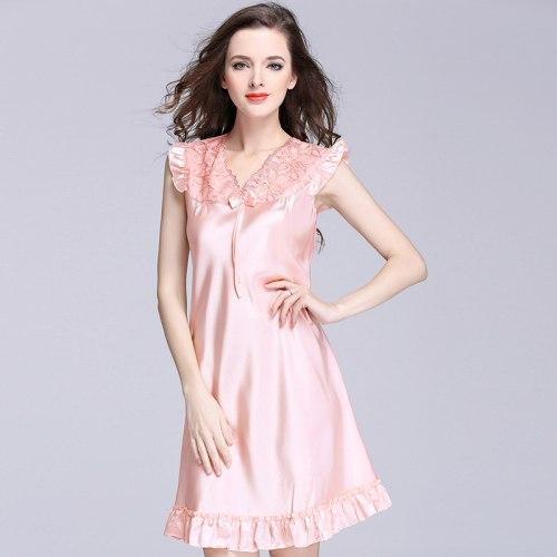 aed25a21e1 Ng0295 Women Nightgown Sleepshirts Sexy Lace V Neck Night Dress ...
