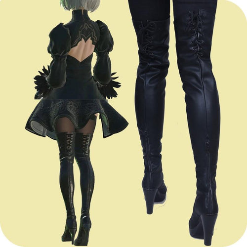 New Game Nier Automata Cosplay Shoes Yorha 2B Knee Length Pu Leather Cosplay Boots Black High Heels Lace-Up Size 35-44