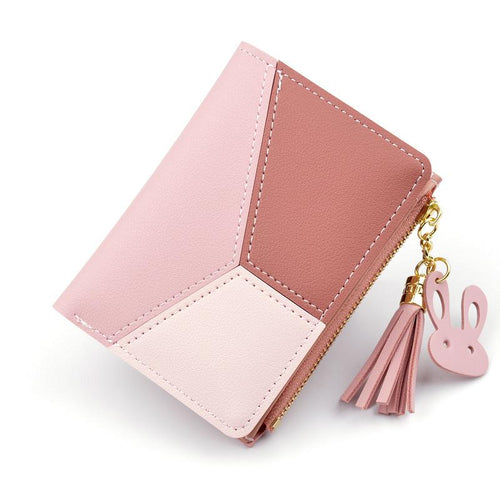 New Arrival Wallet Short Women Wallets Zipper Purse Patchwork Panelled Wallets Trendy Coin Purse Card Holder Leather.