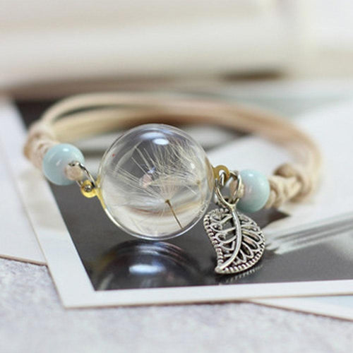 New Boho Vintage Charm Bracelet Handmade Real Dry Flower Glass Ball Weave Adjustable Bracelets Bangle For Women Fashion