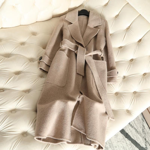 New Double Faced Cashmere Coat Alpaca Anti Season WomenS Long Wool Office Lady Slim Female Overcoat Casaco Feminino