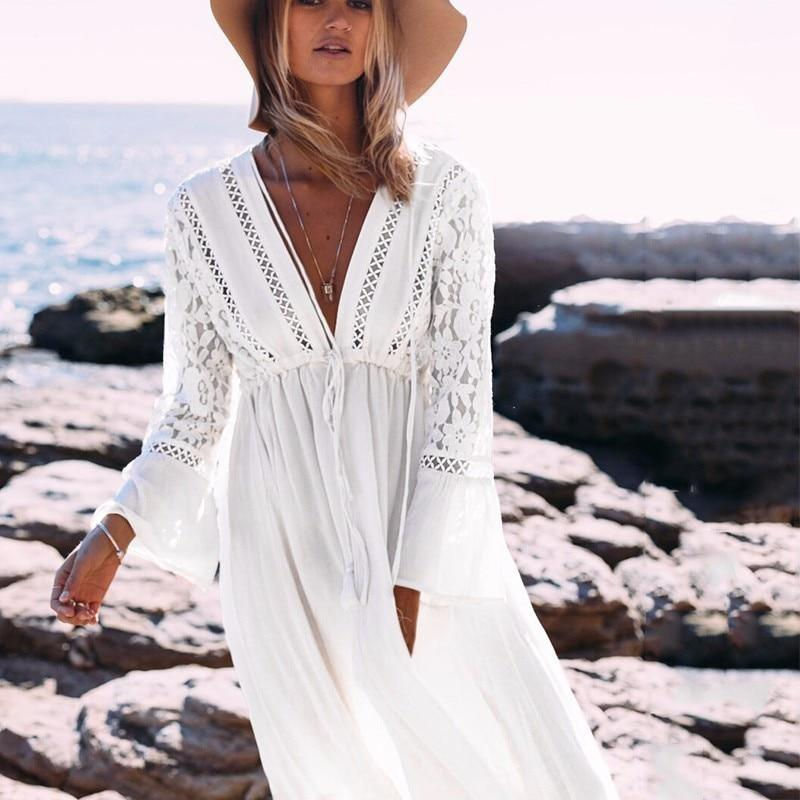 43e86ea82547 New Pareo Beach Tunic Bikini Cover Up Robe De Plage Lace Hollow Sexy S –  asweety