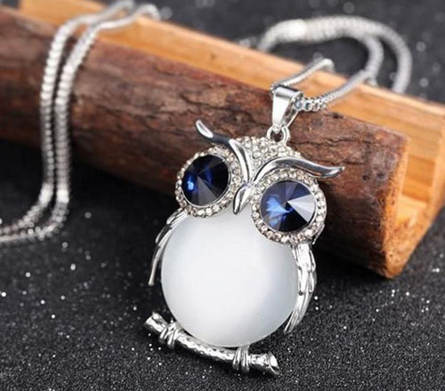 Owl Pendant Rhinestone Sweater Chain Long Necklaces Jewelry Ornaments Exquisite Torque Trinket