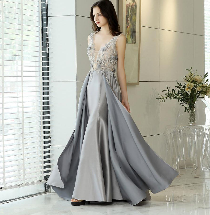 New Style V Neck Long Evening Dresses Lace Flower Top Robe De Soiree S –  asweety ce2aeccfc71f