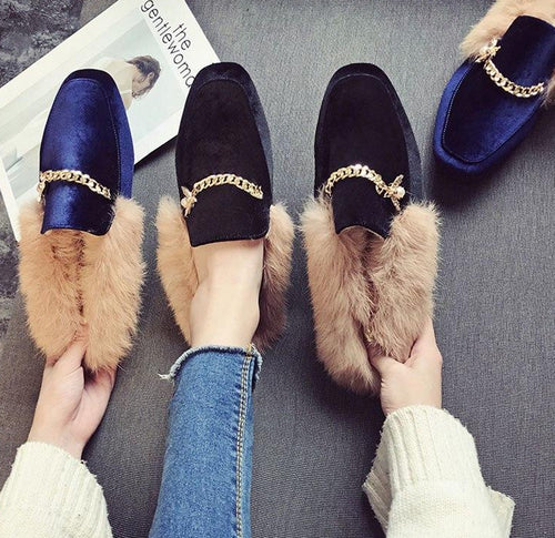 New Winter Mules Real Fur Metal Chain Women Slippers Sexy Solid Color Leather Pointed Toe Woman Flat Shoes