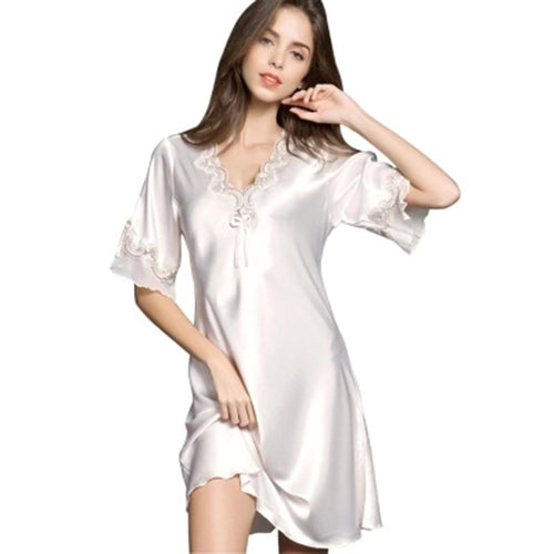 Silk Half Sleeve Embroidery Night Dress Sexy Lingerie Nightie Dress Nightwear Homewear