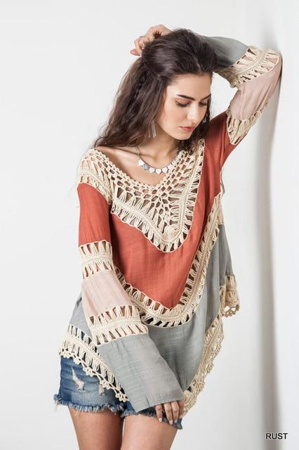 f15f6af3d6 New Women Blouses Shirts Long Sleeve Top Boho Style Crochet Beach Blouses  Hollow Out Summer Deep-V Loose Casual Clothing