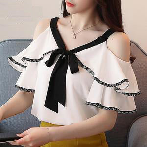 V-neck Sexy strapless bow women Short Sleeve tops Chiffon Shirt women blouse clothing