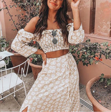 Load image into Gallery viewer, Twist Off Shoulder Casual Women Dress Ruffle Beach Summer 2019 Dresses Female Floral Print Dress Suit Vestidos