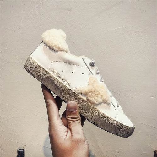 Winter New Women Casual Shoes Fleeces Leather Do Old Dirty Shoes Warm Sneakers Women Flat Golden Star trainers