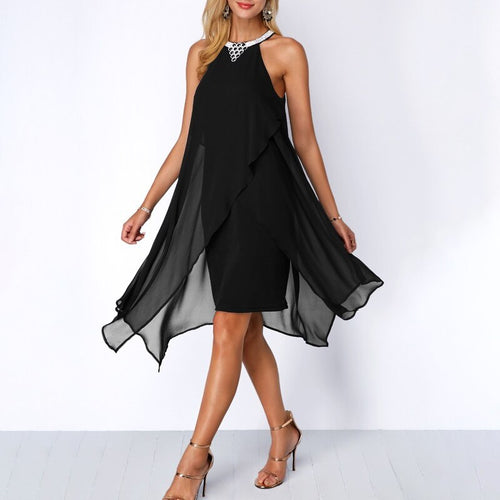 Plus Size Women Summer Round Neck Fashion Chiffon Sleeveless Dress Irregular Double Layer Beach Party sexy Loose Dresses