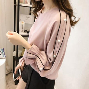 3f44372a265c3 Plus Size Chiffon Shirt Female Blusa Beaded Tops Autumn Long-Sleeved Women  Blouse Women Clothing Solid Color