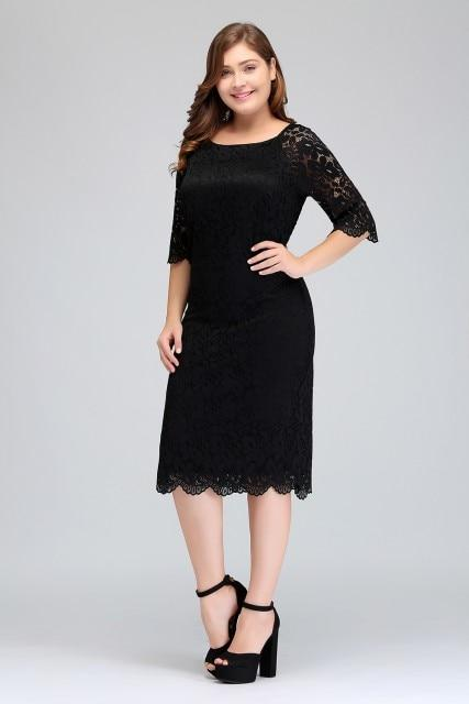 812e6fdba90a Plus Size Womens Short Cocktail Dress Half Sleeves Scoop Knee Length ...