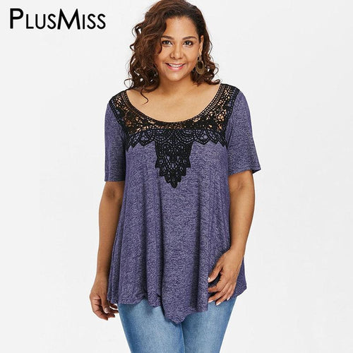 Plusmiss Plus Size Loose Lace Crochet Blouse Shirt Women Clothing Big Size Ethnic Boho Short Sleeve Tops Ladies Blusas