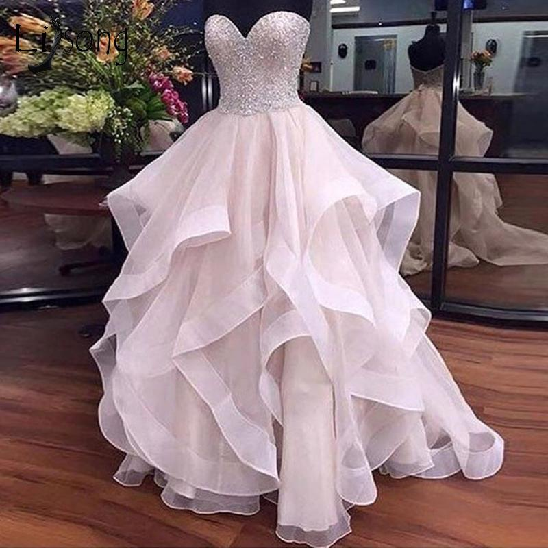 25fdf01c4 Pretty Pearl Pink Ruffles Wedding Dresses 2018 Sparkle Beaded Lace Bridal Gowns  Off Shoulder Lace Up Plus Size Robe De Mariee