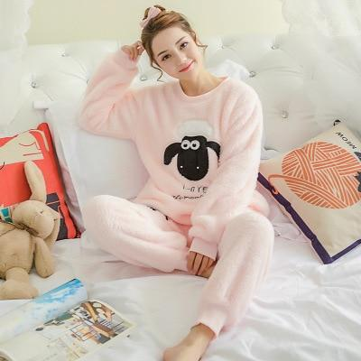 Qweek Flannel Women Sleepwear Winter Female Pajamas Sets Thick Warm Female Suit Long Sleeve Pyjamas Women Velvet Home Clothes