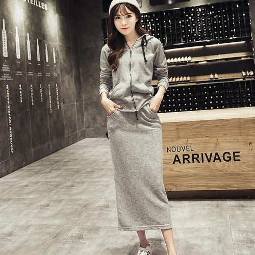 Qooth Autumn Winter Tops Skirt Set High Waist Ol Long Pencil Skirt Women Grey Tops Skirt Two Pieces Set Casual Maxi Skirt