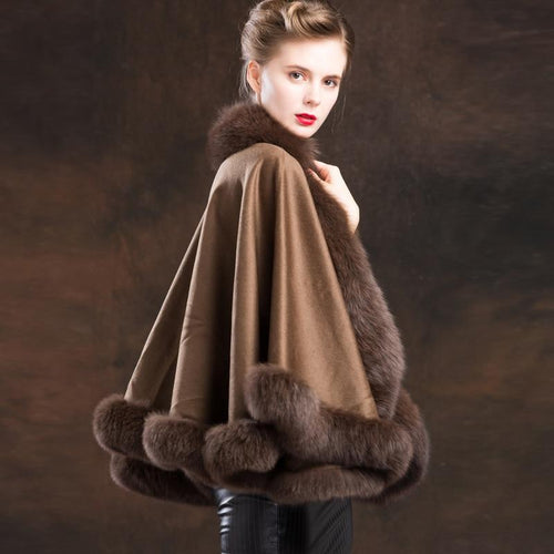 Real Fur Coat Women Winter Shawal Wool Cloak Cashmere Cloak Natural Fox Fur Trim Elegant Free Shipping New Phoenix 0717I