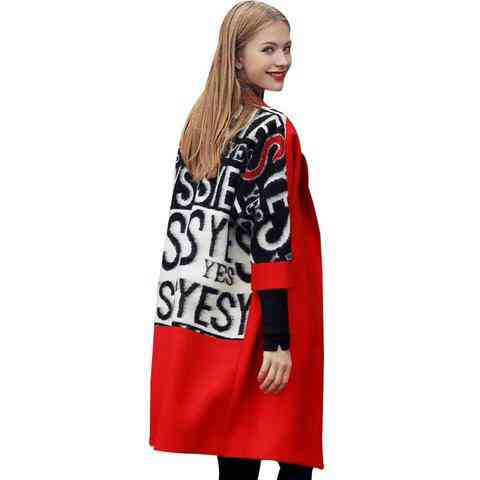 Autumn Winter Fashion High Quality Wool Coats Loose Warm Woolen Long Sleeve Outwear Jacket