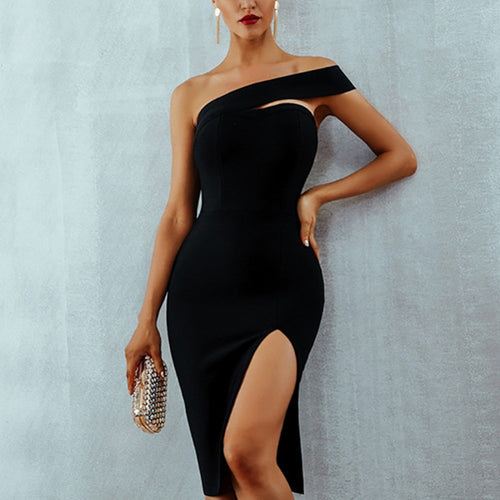 Sexy 2019 Summer Bodycon Elegant One Shoulder Midi Celebrity Party Dresses