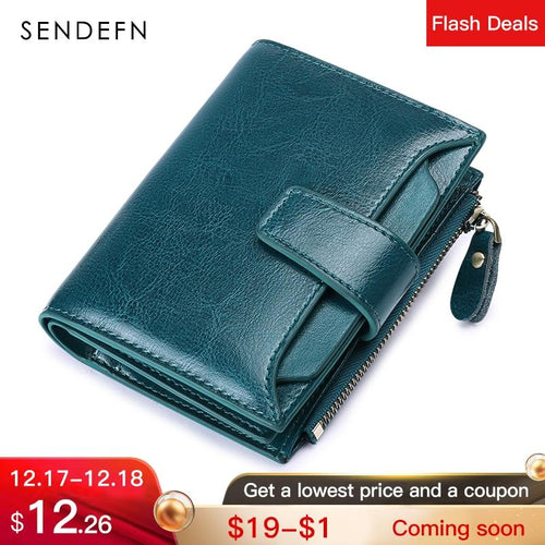 Sendefn Women'S Wallet Leather Small Luxury Brand Wallet Women Short Zipper Ladies Coin Purse Card Holder Femme Red/Blue 5191-65