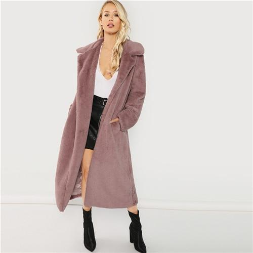Pink Office Lady Elegant Open Front Longline Faux Fur Teddy Solid Coat Autumn Minimalist Women Coats Outerwear