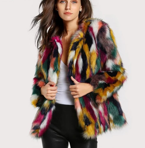Women Elegant Fur Coats Colorful Faux Fur Coat MulticolorCasual Winter Fur Coats