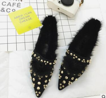 Woman Fur Slip On Loafers Autumn Woman Flats Velet Revit Vintage Shoes  Point Toe Winter Warm Shoes Flat