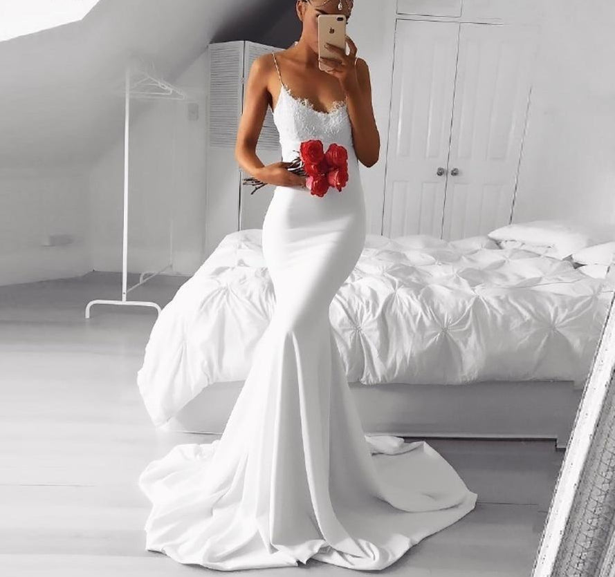 75888b085ae3c Load image into Gallery viewer, Sexy Mermaid Bridal Gown Lace Elegant Wedding  Dress Spaghetti Straps ...