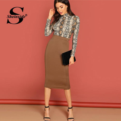 Sheinside Brown Pencil Skirt Women Workwear Office Ladies Skirts Womens Clothing Autumn Mid Waist Solid Bodycon Midi Skirt