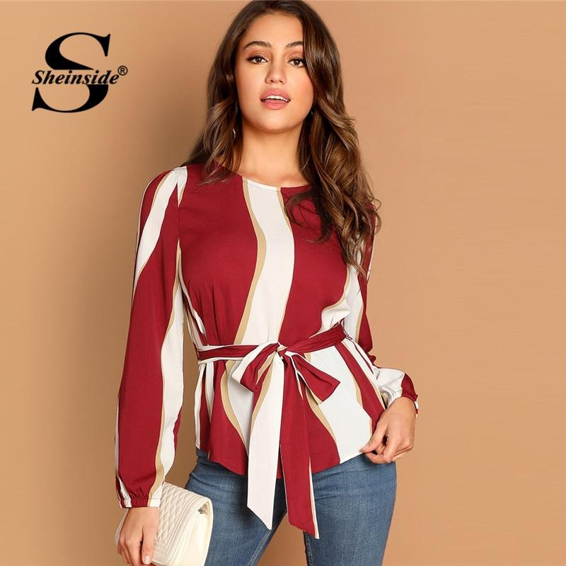 afc4083c1a Load image into Gallery viewer, Office Ladies Elegant Tops Women Long  Sleeve Blouse Burgundy Striped ...