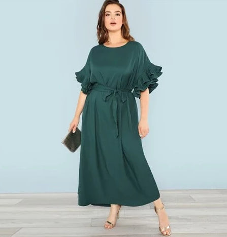 Plus Size Green Pleated Ruffle Detail Dress Women 2019 Spring High Waist Belted Dresses Ladies Solid Maxi Dress