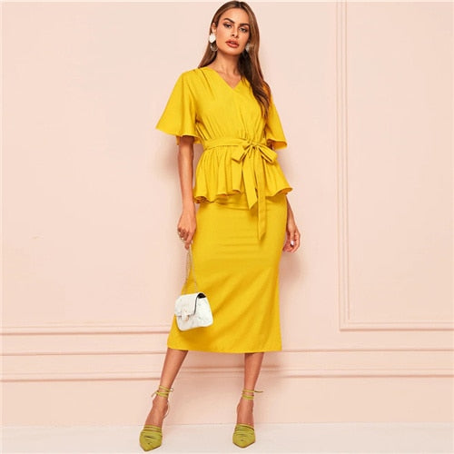 V Neck Belted Top And Midi Skirt Set Women 2019 Summer Elegant Ruffle Hem Blouse Office Ladies Solid 2 Piece Set
