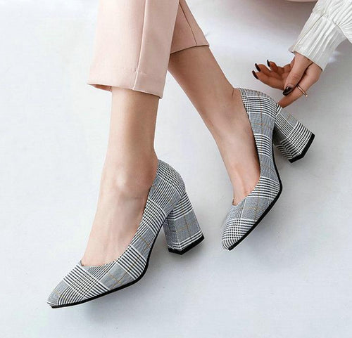 Plaid Pointed Toe Office Career Woman Pumps Stiletto Dress Shoes High Heels Shoes Ladies Plus Size 45 46